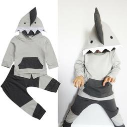 US Stock Kids Toddler Boy Shark Hooded Tops Coat Pants Fall