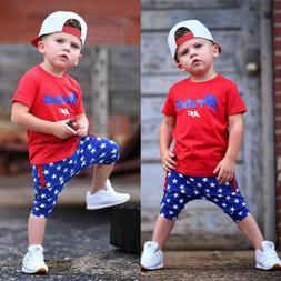 US Summer Outfit Clothes Toddler Baby Kid Boy Tee Top T-shir