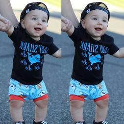 US Summer Toddler Boy Baby Shark Do Do Outfits Top Shirt+Sho