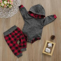 US Toddler Baby Boy Girl Kids Hooded Bodysuit Pants Autumn W