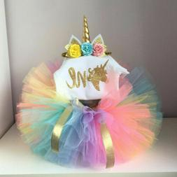 US Toddler Baby Girl 1st Birthday Unicorn Rainbow Romper Tut