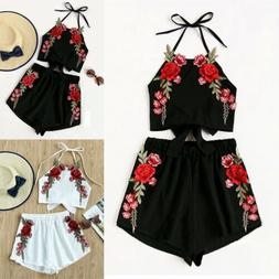 US Toddler Kid Baby Girl Clothes Strap Top+Floral Short Pant