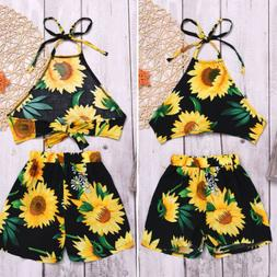 US Toddler Kid Baby Girl Sunflower Clothes Halter Tops Short