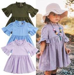 USA Boutique Toddler Baby Kids Girl Ruffle Sleeve Party Dres