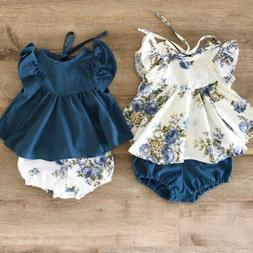 USA Newborn Infant Kids Baby Girl Floral Tops Dress Shorts P