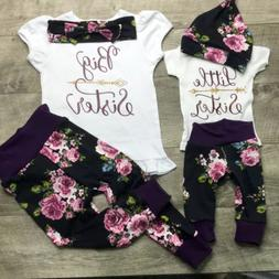 USA Sister Match Big Little Sister Girl T-shirt Romper Top+