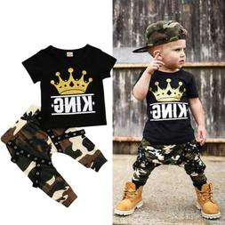 USA Toddler Kids Baby Boys Tops T-shirt Camo Pants 2Pcs Outf