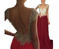 HelloLadyBridal Women's V Neck Beaded Prom Dresses Long Chif