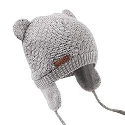 warm baby hat cute bear toddler earflap