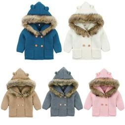Winter Warm Newborn Baby Boy Girl Knit Hooded Coat Fur Colla