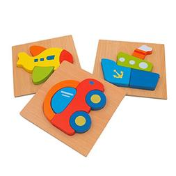 DreamsEden Wooden Jigsaw Puzzles for Toddlers Vehicles Chunk