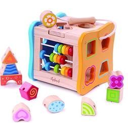 Wooden Shape Sorter - Lacing Beads for Toddlers 1 Skill Deve