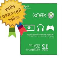 Microsoft Xbox Live 12 Month Gold Membership Card - 52M-0015