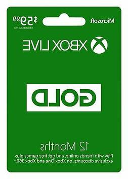 Microsoft Xbox LIVE 12 Month Gold Membership Physical Card