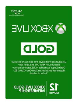 Microsoft Xbox Live Subscription 12 Month Gold Membership Ca