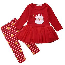 Xmas Outfit for Girls Babys Santa Claus Tutu Dress with Stri